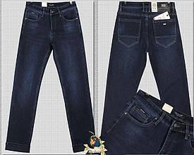 Джинсы мужские утеплённые классические прямые тёмно-синие 32 размер