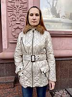 Куртка Balizza длинная золотистая с воротником из норки, фото 1