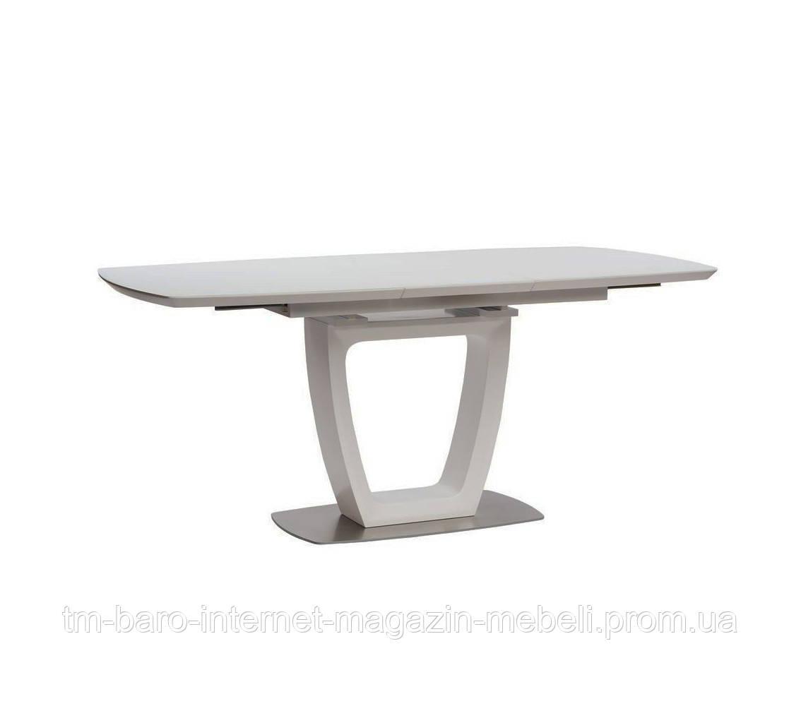 Стол обеденный белый Равенна (Ravenna)  матовое стекло+МДФ 140-180, Concepto
