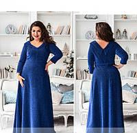 / Размер 50,52,54,56 / Женское элегантное блестящее платье из трикотажа с люрекса 19-42-Электрик