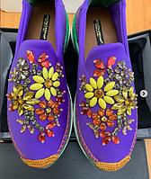 Слипоны Dolce&Gabbana фиолетовые с камнями