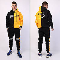 Мужской зимний спортивный костюм Sad Smaile черно-желтый