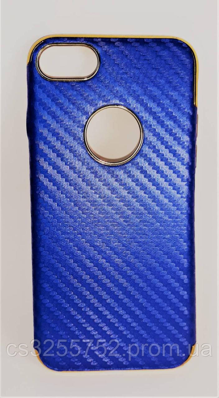Силикон iPhone 7+ Fashion Carbon синий