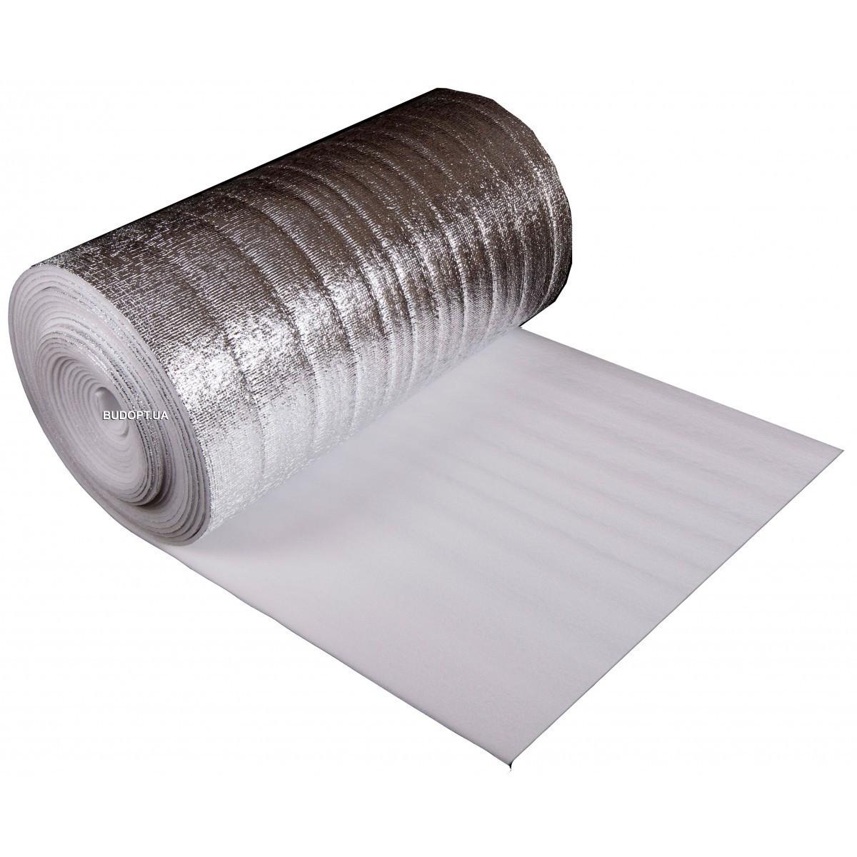 Вспененный полиэтилен ламинированный ППЕЛ-1м х 50м толщина 8 мм (подложка под теплый пол)