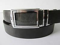 """Ремень мужской брючный автомат-калитка чёрный (гладкая кожа, 35 мм.) №C69373  """"Remen"""" LM-638"""
