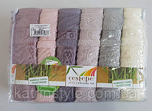 Мягкие бамбуковые полотенца для лица «Cestepe Damaks»  6 шт