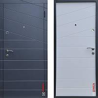 Дверь входная металлическая ZIMEN Line  l Антрацит / Белый шагрень  l Base
