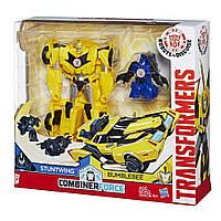 Трансформер Бамблби и миникон Стантвинг Роботы под прикрытием - Bumblebee & Stuntwing, Combiner Force, Hasbro, фото 1