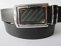 """Ремень мужской брючный автомат-калитка чёрный (гладкая кожа, 35 мм.) №C69374  """"Remen"""" LM-638"""