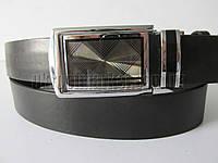 """Ремень мужской брючный автомат-калитка чёрный (гладкая кожа, 35 мм.) №C69375  """"Remen"""" LM-638"""