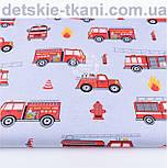 """Отрез хлопковой ткани """"Пожарные машины на сером фоне"""", № 1185, размер 52*160, фото 2"""
