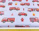 """Отрез хлопковой ткани """"Пожарные машины на сером фоне"""", № 1185, размер 52*160, фото 4"""