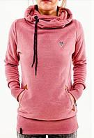 Женский молодежный свитер в спортивном стиле с капюшоном, розовый, фото 1
