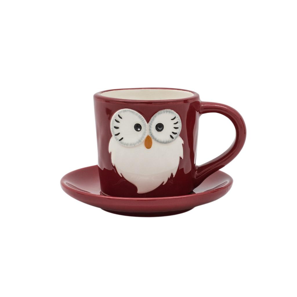 Чашка с блюдцем Сова красная 10см 108990