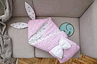 """Конверт-одеяло для малыша  Добрый Сон """"Капюшон с ушками Зайки"""" 100*80 см"""