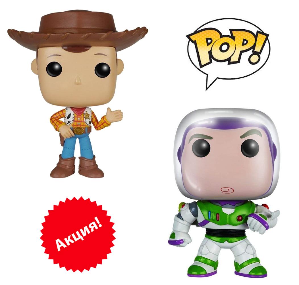 "Набор фигурок Funko Pop Вуди + Баз Светик (Лайтер) из м/ф ""История игрушек"" - Woody & Buzz, Toy Story, фото 1"