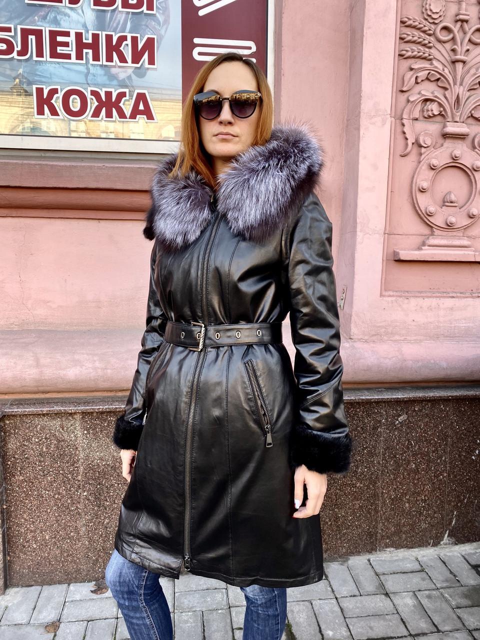 Пальто натуральное женское на норке с капюшоном РАЗМЕР+