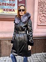 Пальто натуральное женское на норке с капюшоном РАЗМЕР+, фото 1