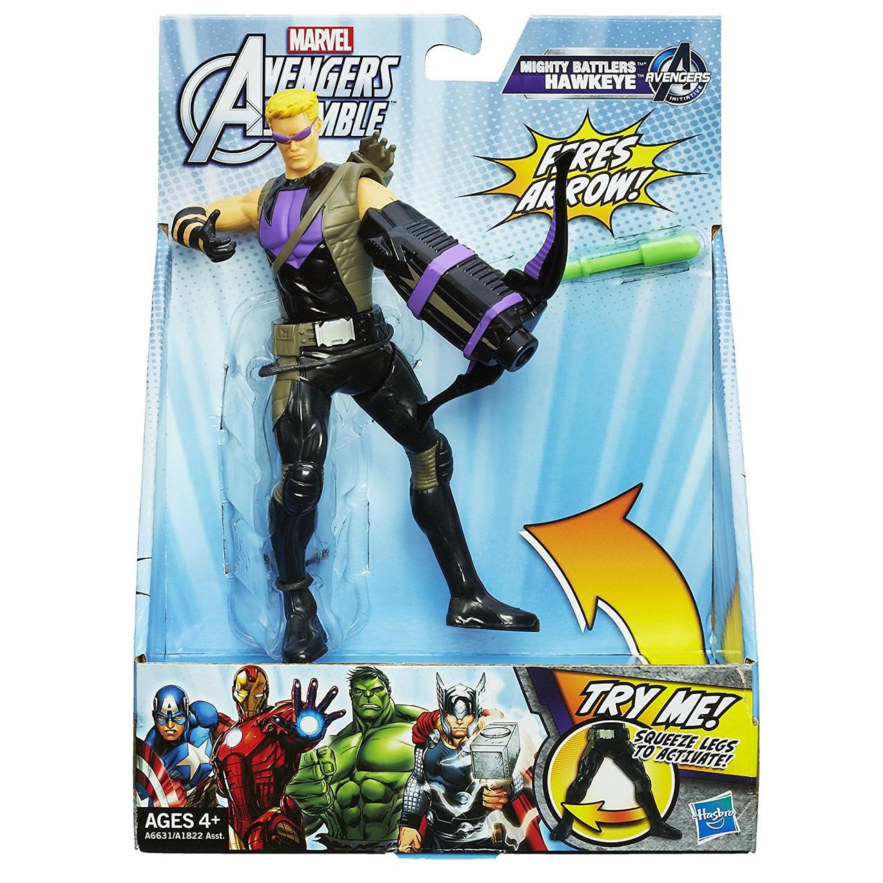 Стреляющая фигурка Соколиного Глаза с боевым оружием - Hawkeye, Avengers, Assemble, Squeeze Legs, Hasbro
