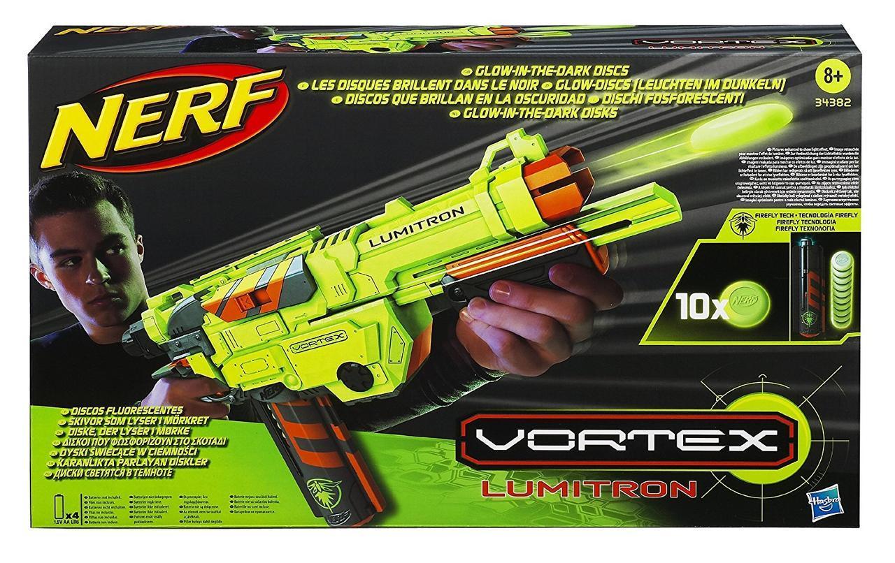 Пистолет-бластер со светящимися пулями - Vortex Lumitron, Nerf, Hasbro