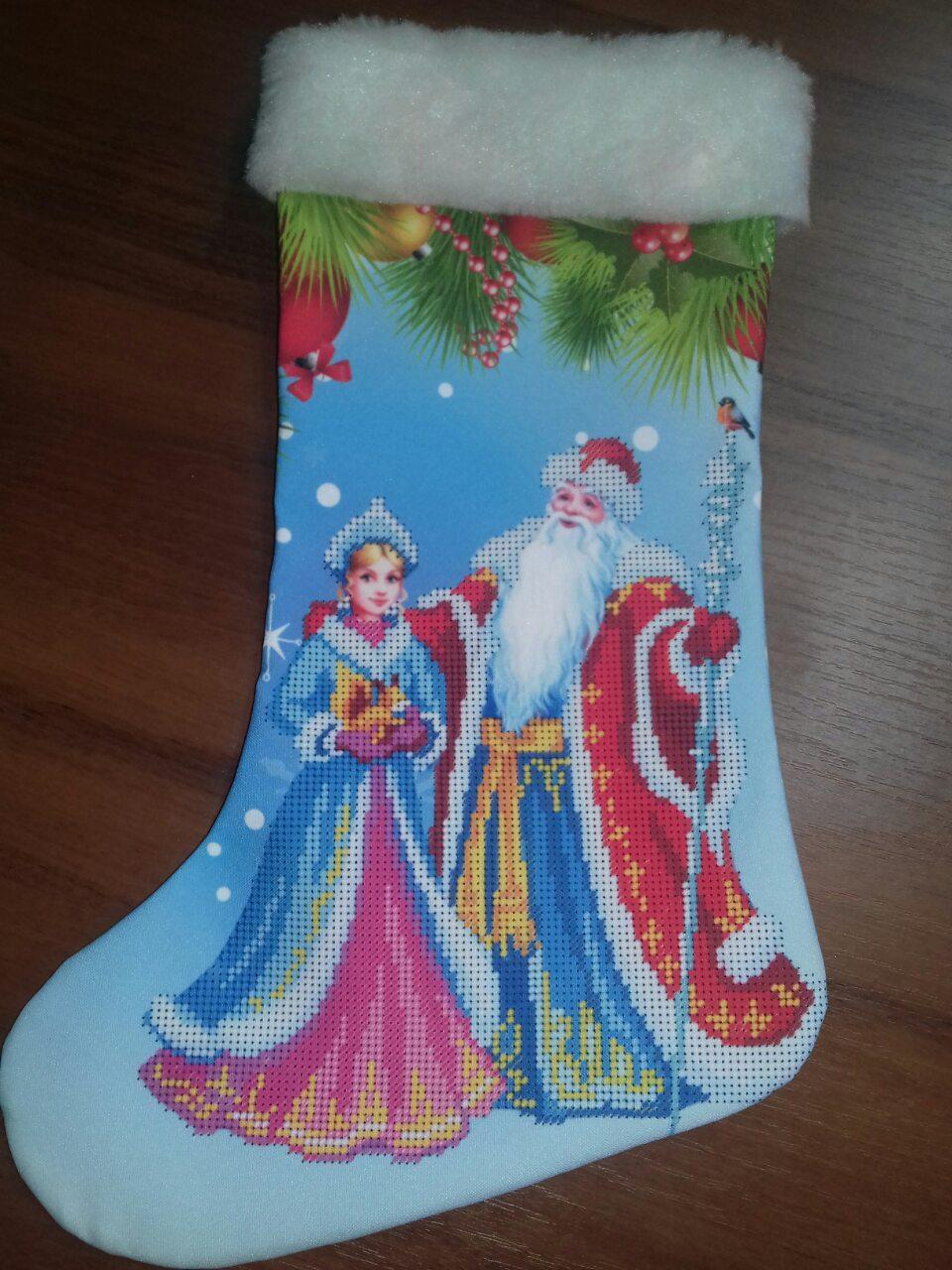 "Сшитый новогодний сапожек ""Дед Моро и Снегурочка(1)"""
