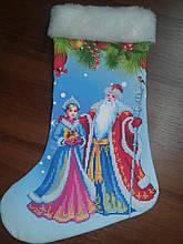 Сшитый новогодний сапожек Дед Моро и Снегурочка(1)