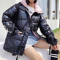 Куртка зимняя женская лаковая черная