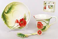 Подарочный набор Маки 3пр.: чашка 150мл + блюдце + ложка BonaDi 270-A12