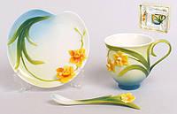 Подарочный набор Нарцисс 3пр.: чашка 150мл + блюдце + ложка BonaDi 270-A10