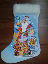 Сшитый новогодний сапожек Дед Мороз и Снегурочка (3)