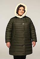 Пуховик женский с капюшоном Темно-оливковый - теплый женский пуховик больших размеров