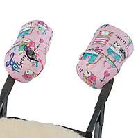 Зимние муфты на овчине для коляски, санок Розовые с рисунком DoRechi (ДоРечі)