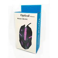 Мышь проводная оптическая CM-818 с подсветкой (в коробке) / Игровая проводная мышь / Геймерская мышь, фото 1
