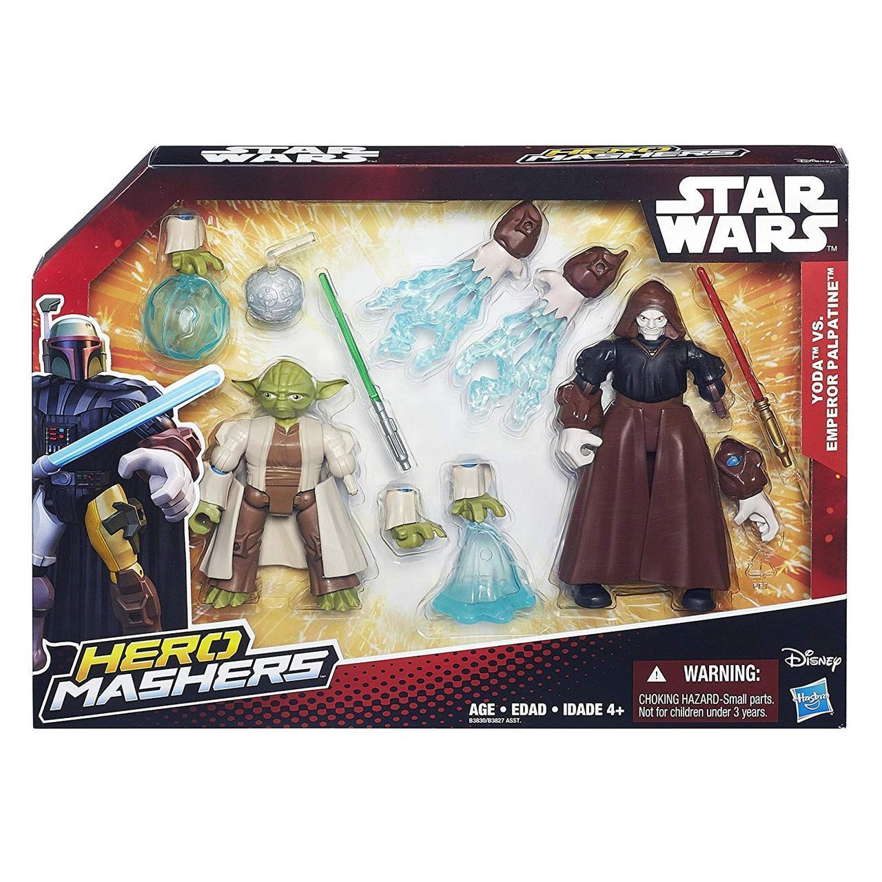 Разборные фигурки мастер Йода и император Палпатин, Машерс - Yoda, Emperor Palpati, Star Wars, Mashers, Hasbro