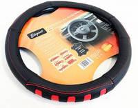 Чехол на руль КОЖА S (35-37см) черно-красный Elegant 105730