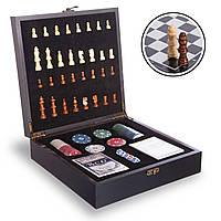 Шахматы, покер 2 в 1 набор настольных игр деревянные W2624