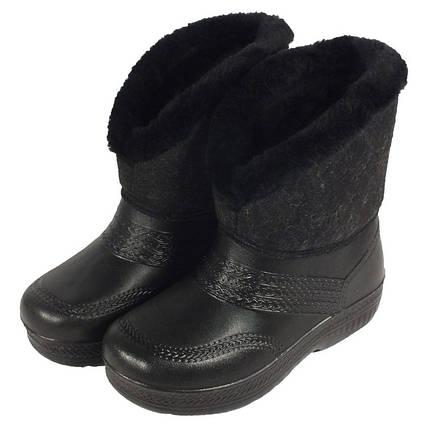 Дутики женские Боярочка VR зимние утепленные меховые Войлок черные подошва ЭВА, фото 2