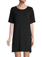 Женская черная комбинированная ночная рубашка с сеткой и логотипом по бокам от DKNY (Размер - S)