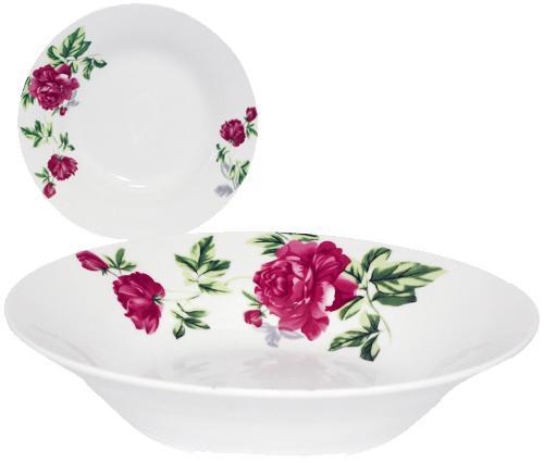 """Набір 6 супових тарілок """"Квітучий Півонія"""" Ø20см, фарфор"""