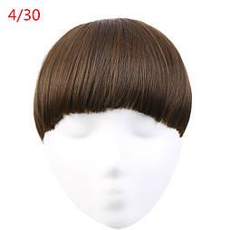 Накладная  челка из искусственных волос. Цвет #4/30 Мелированый брюнет