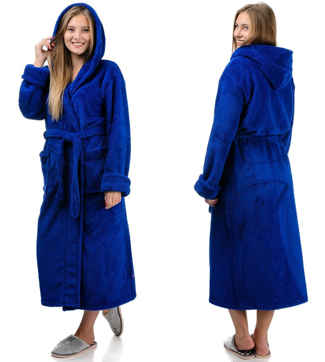 Довгий махровий халат жіночий на поясі теплий домашній зимовий велсофт з капюшоном