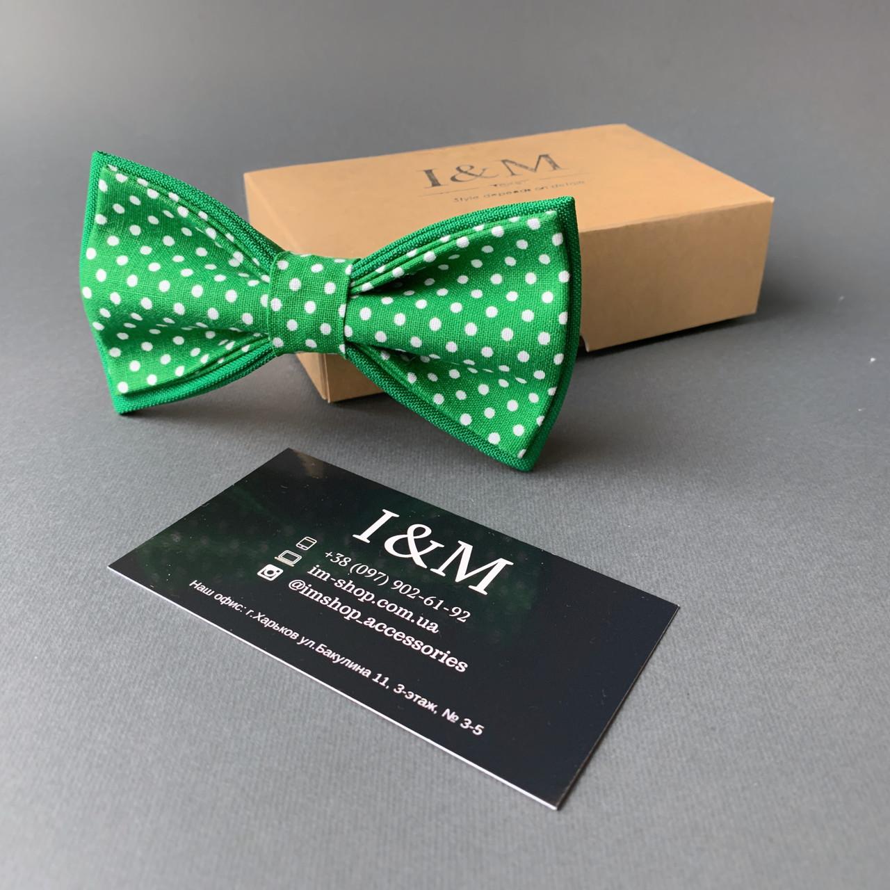 Краватка-метелик I&M Craft зелений горошок (010541)
