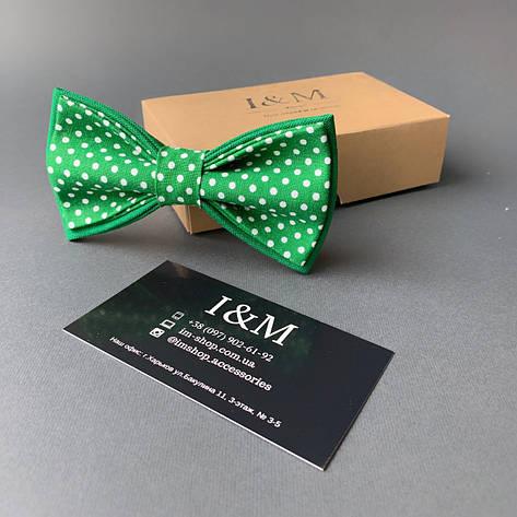 Краватка-метелик I&M Craft зелений горошок (010541), фото 2