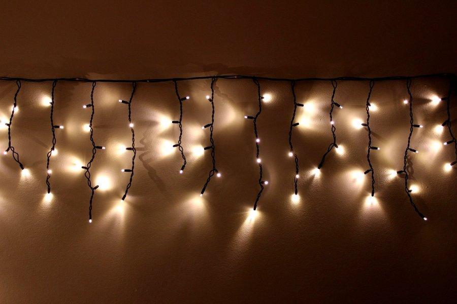 """Внешняя LED гирлянда Бахрома """"Icicle"""" 5 метров Теплый Белый, 100 Ламп черный провод каучук пвх, 8 режимов"""