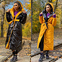 Женская куртка пуховик двусторонняя на синтепоне черный+ горчица черный+красный  42-46 48-52 54-58, фото 1