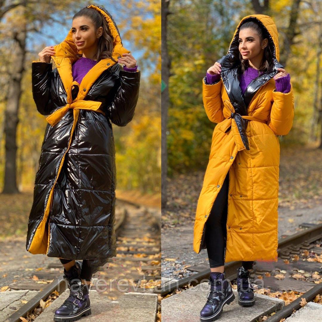 Женская куртка пуховик двусторонняя на синтепоне черный+ горчица черный+красный  42-46 48-52 54-58