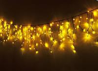 """Уличная Cветодиодная гирлянда Бахрома """"Icicle"""" 10 метров Желтая, 200 LED черный провод каучук пвх, 8 режимов"""