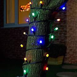 """Внешняя LED гирлянда Нить """"String"""" 10 метров Мульти Цветная, 100  Ламп черный провод каучук пвх"""