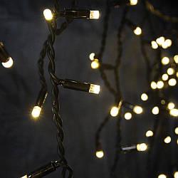 """Наружная LED гирлянда Нить """"String"""" 10 метров теплый белый, 100 Ламп черный провод каучук пвх"""