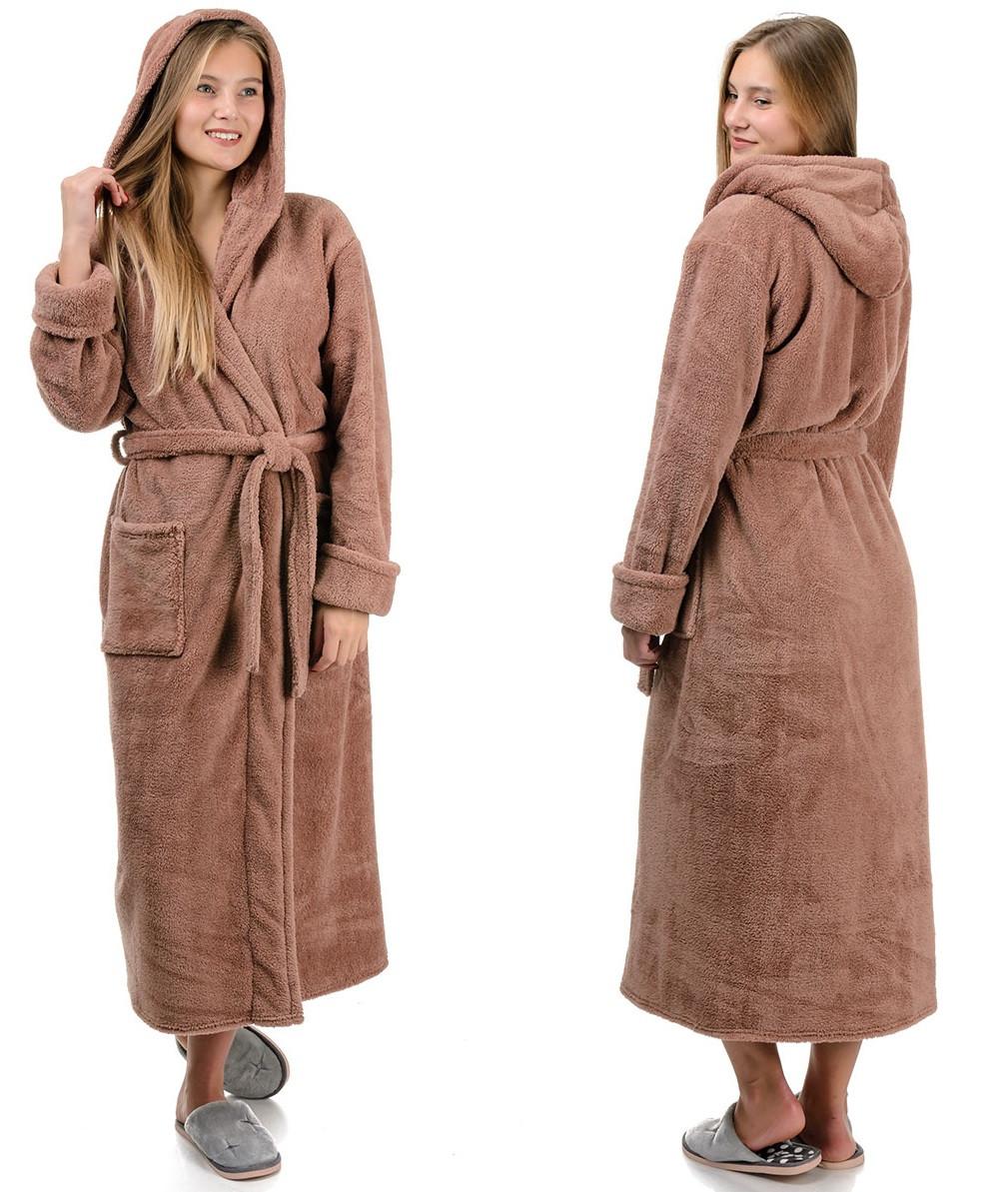 Длинный халат махровый женский с поясом теплый домашний зимний велсофт с капюшоном